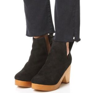 Jeffrey Campbell Odelia Black Suede Wood Platforms